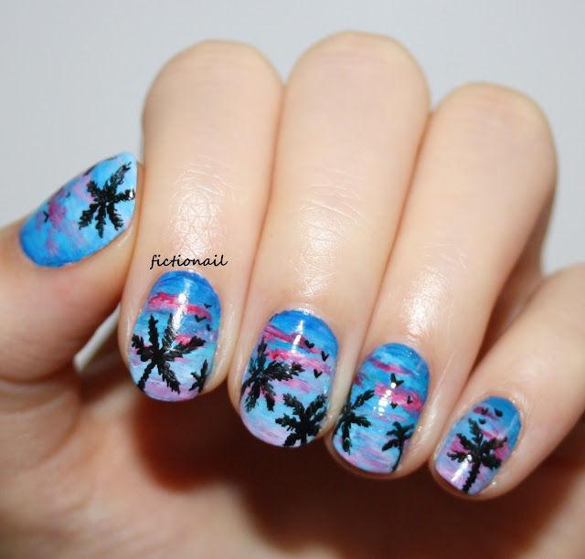 Tropical Sunset Palm Trees Nail Art