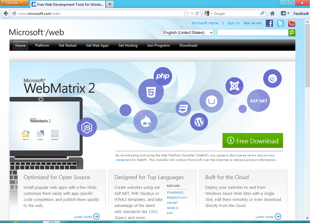 download webmatrix 2