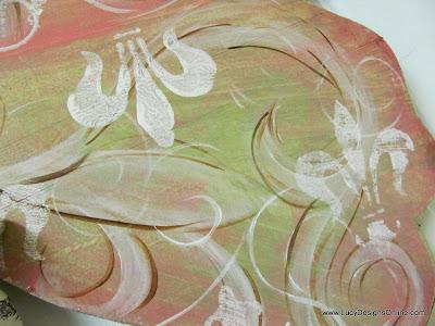 hand painted pink fleur de lis