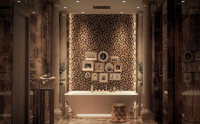With coppery tile and gilded accents, this bathroom is fit for a queen.