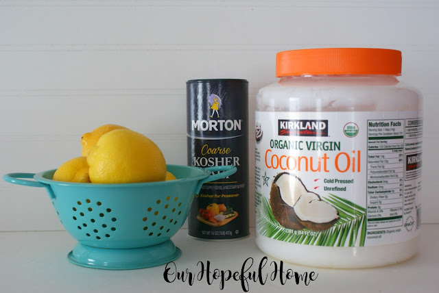 eco-friendly cleaning lemons coarse salt coconut oil