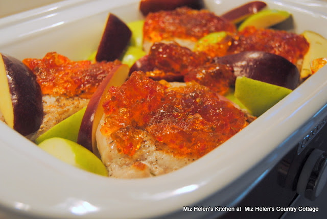 Slow Cooker Pepper Jelly Pork Chops, Apples & Onions at Miz Helen's Country Cottage
