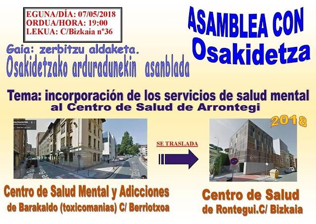 asamblea por el traslado del servicio de salud mental a Rontegi