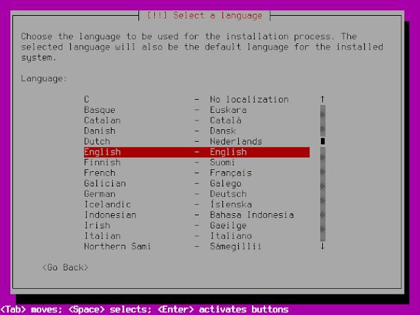 UbuntuBSDのインストール画面。言語設定で日本語できず。