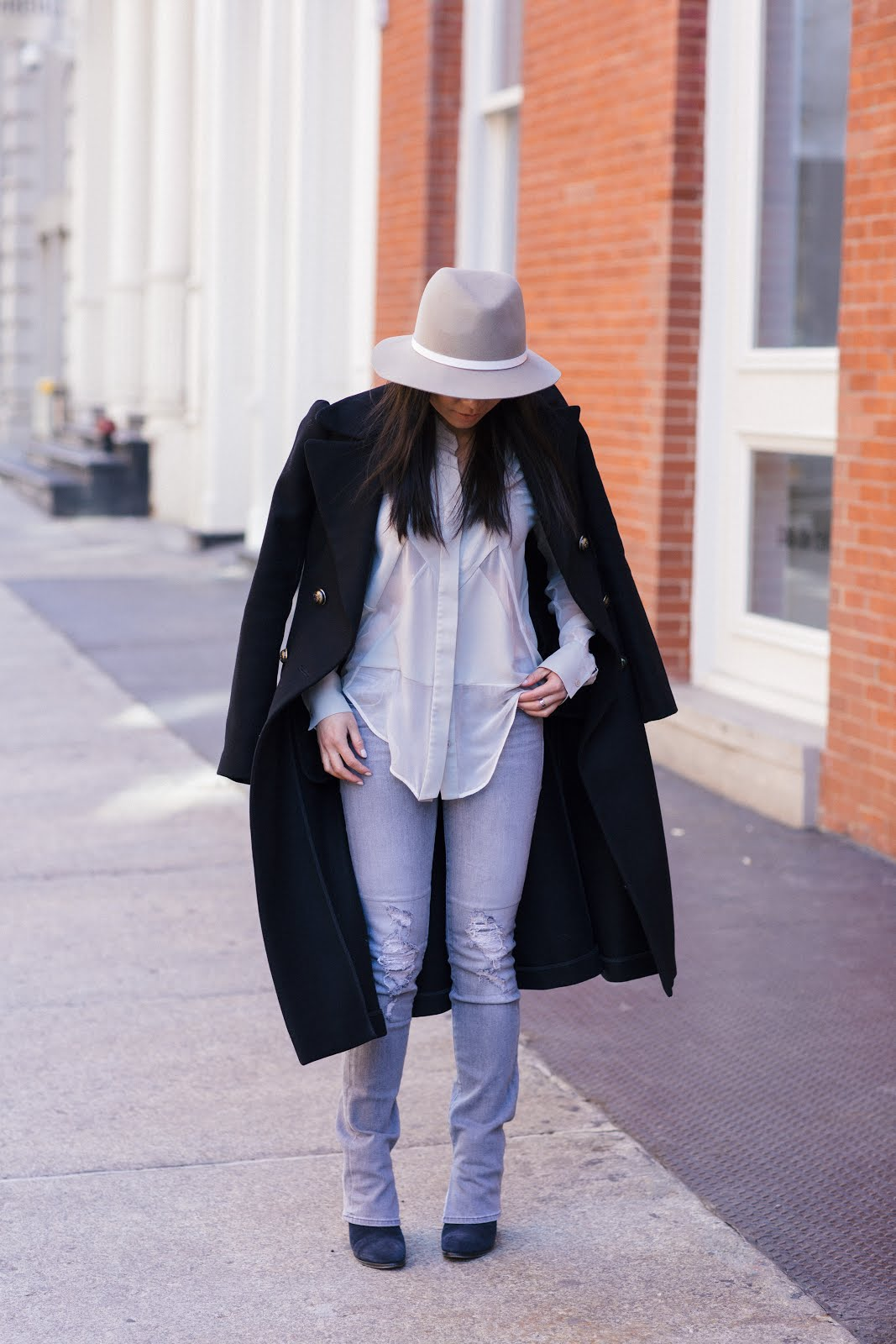 military coat j brand jeans