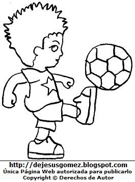 Niño pateando la pelota para colorear pintar imprimir. Dibujo de niño jugando hecho por Jesus Gómez