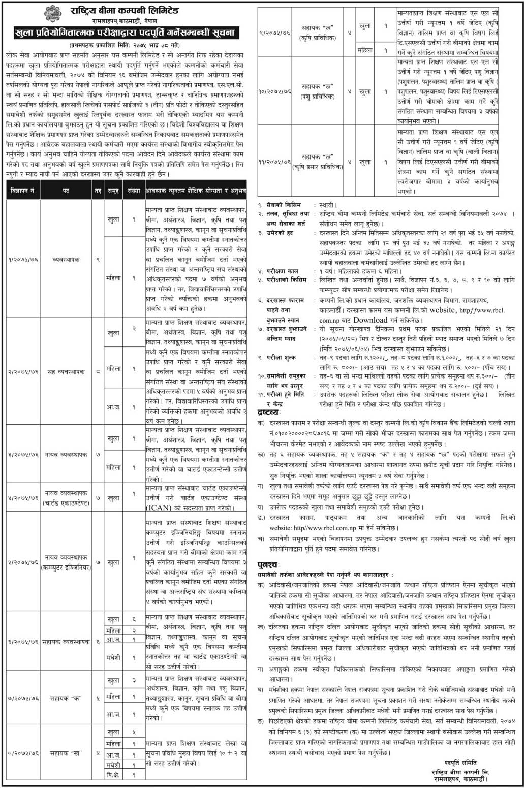 Vacancy Announcement, Rastriya Bima Company Ltd. for Various Posts