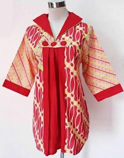Blouse wanita muslimah kombinasi batik