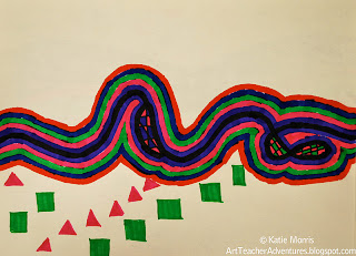 Child drawing of bold lines and patterns