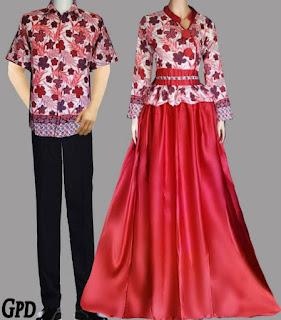 model baju batik couple gamis terbaru