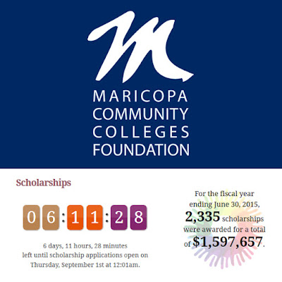 MCCCDF logo.  Time left to apply: 6 days, 11 hours 28 minutes left until scholarship applications open on Thursday, Sept. 1 at 12:01 a.m.  For the fiscal year ending June 30, 2015, 2,335 scholarships were awarded for a total of 1,597,657.