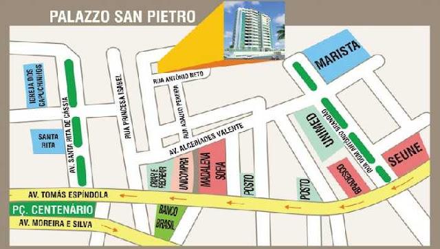 Apartamentos a venda, Maceió, Alagoas, bairro Farol, edf. Palazzo San Pietro-mapa