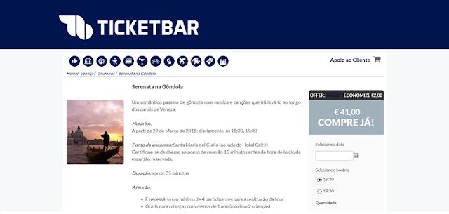 Ticketbar para ingressos para serenata e jantar na gôndola em Veneza