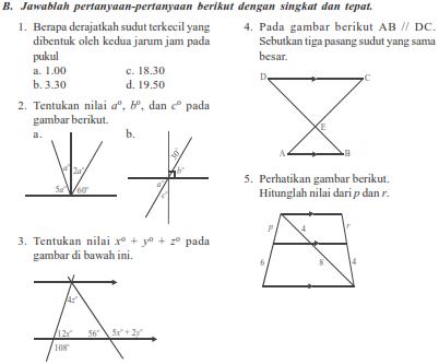 Soal Matematika SMP Kelas 7 Garis Dan Sudut Semester 2 ...