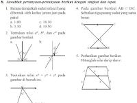 Soal Matematika SMP Kelas 7 Garis Dan Sudut Semester 2