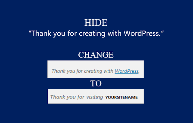 """How to edit or hide """"Thank you for creating with WordPress"""" link in WordPress admin pages?"""
