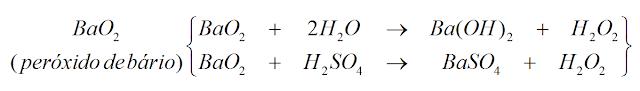 reaçao peroxido bario formando base sulfato hidrogenio