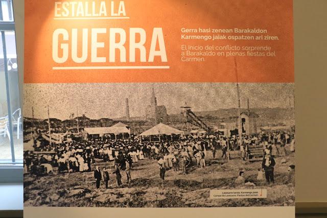Panel de la exposición en El Regato sobre la Guerra Civil