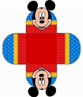 Cajas del Kit para Fiestas para Imprimir Gratis de Mickey en Azul y Rojo.