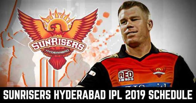 VIVO IPL 2019 Sunrisers Hyderabad (SRH) Full Schedule