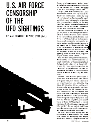 U.S. Air Force Censorship of The UFO Sightings (Pg 1) - True Magazine Jan 1965