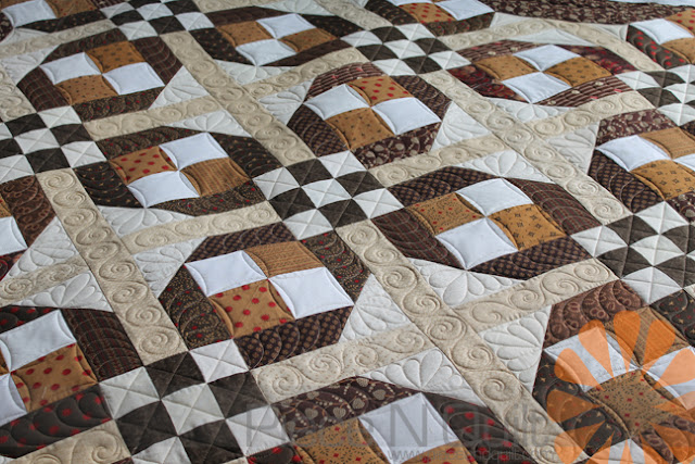 Piece N Quilt Scrappy Brown Quilt Custom Machine