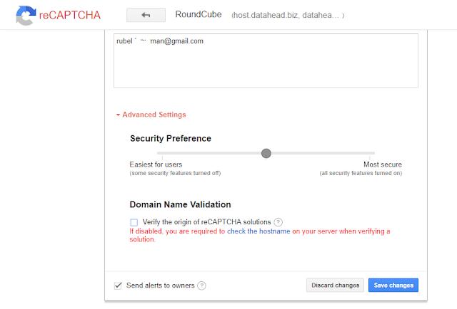 Google reCaptcha Advance Option
