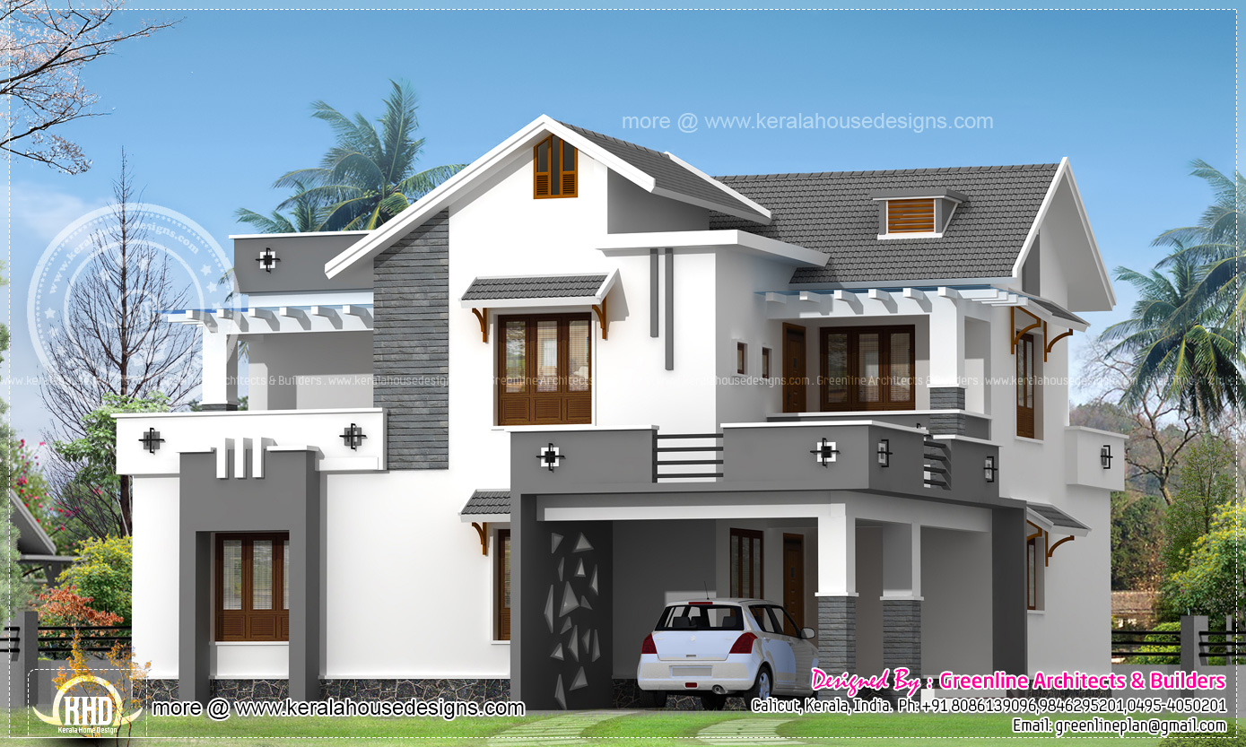 Modern 214 square meter house elevation kerala home for Elevation of kerala homes