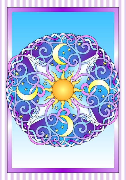 Celestial Mandala Box Card And Coloring Page