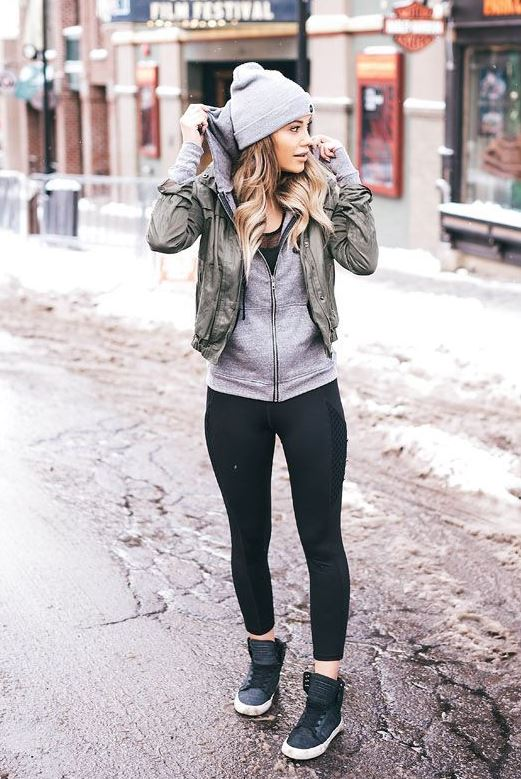 very comfy winter outfit idea_hat + sweater + vest + leggings + sneakers