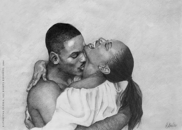 """Kiss"" - pencil on paper A3, 2004"
