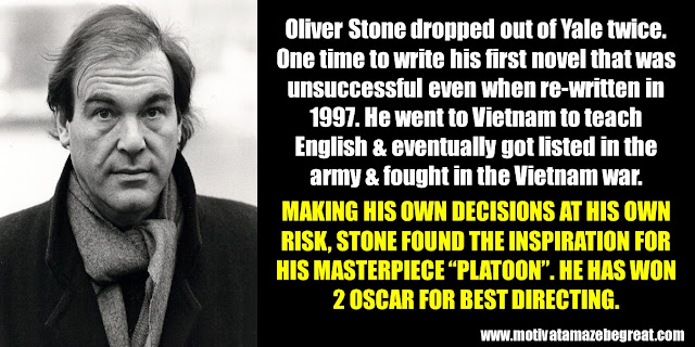 63 Successful People Who Failed: Oliver Stone, Success Story, Platoon, 2 Oscars, Best Directing, dropped Yale twice, Vietnam war
