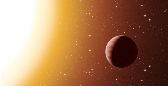 This artist's impression shows a hot Jupiter planet orbiting close to one of the stars in the rich old star cluster Messier 67, in the constellation of Cancer (The Crab). Astronomers have found far more planets like this in the cluster than expected. This surprise result was obtained using a number of telescopes and instruments, among them the HARPS spectrograph at ESO's La Silla Observatory in Chile. The denser environment in a cluster will cause more frequent interactions between planets and nearby stars, which may explain the excess of hot Jupiters. Credit: ESO/L. Calçada