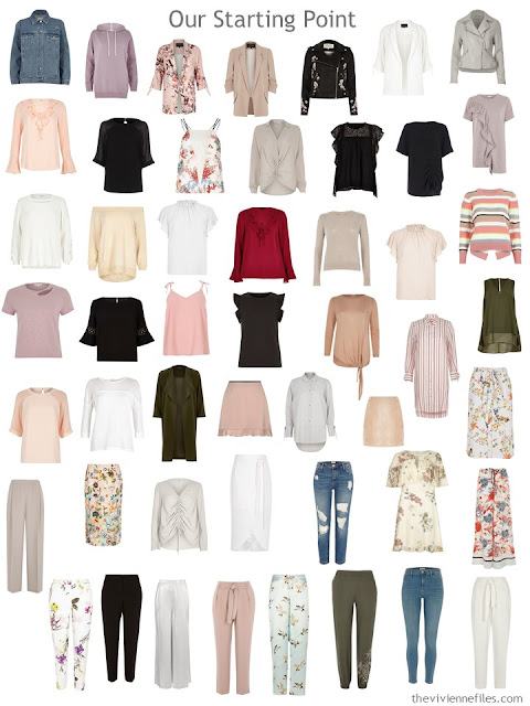 a 50-piece wardrobe with too many colors and too many prints