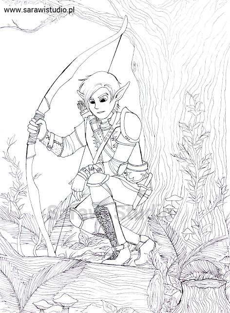 elf, łowca, zwiadowca, postać, rysunek, lineart, obrys, szkic, fantasy, postać, magia