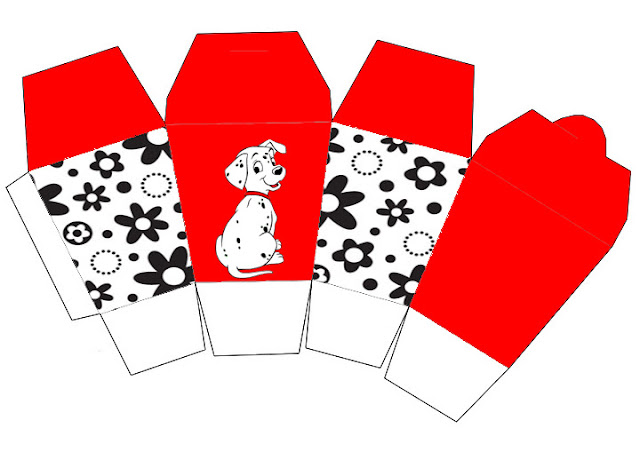 101 Dalmatians in Red and Black, Free Printable Chinese Take Away Box