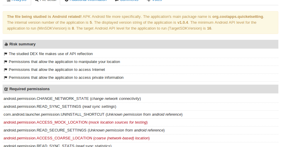 VirusTotal Blog: Pimping up the characterization of Android