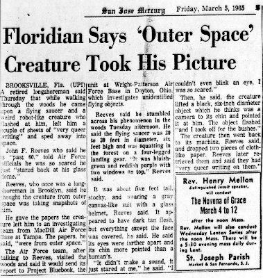 Floridian Says 'Outer Space' Creature Took His Picture San Jose Mercury News 3-5-1965