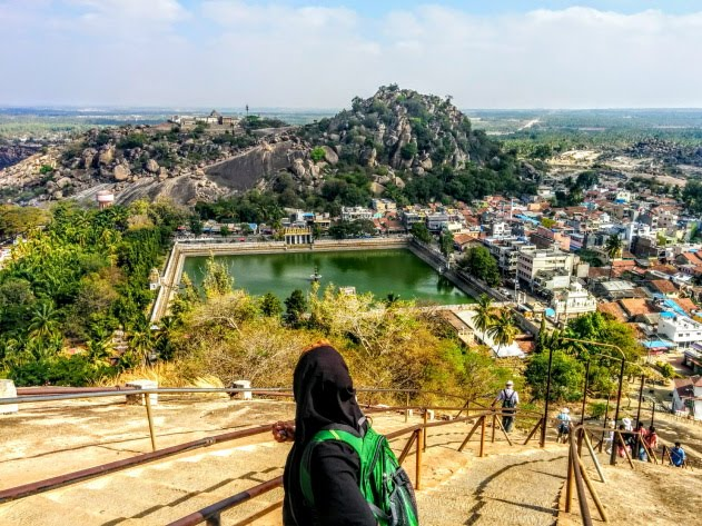 Shravanabelagola town during the climb to the top