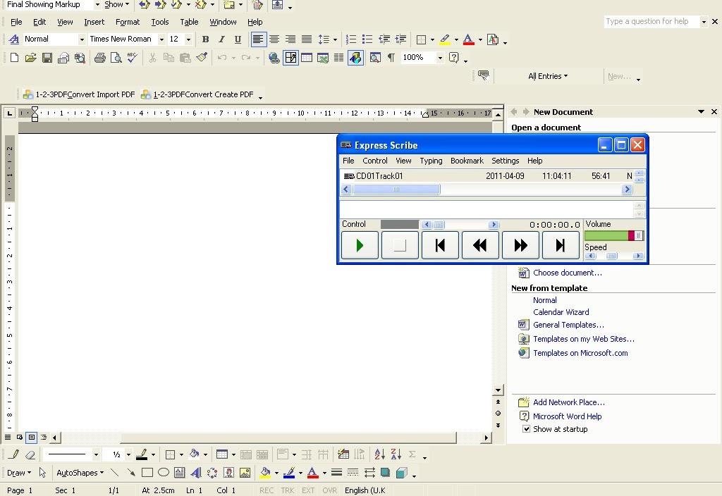 Transcription Services: Olympus v Express Scribe Transcription Software