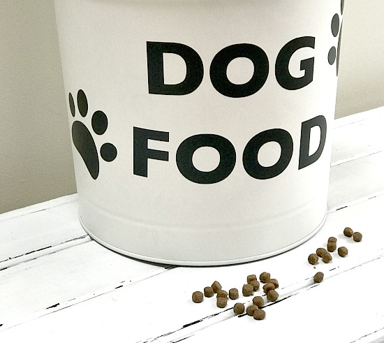 Recycled Dry Dog Food Container storage with vinyl paw prints