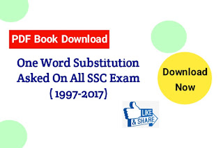 One Word Substitution PDF Book Asked on SSC Exam 1997 to 2017