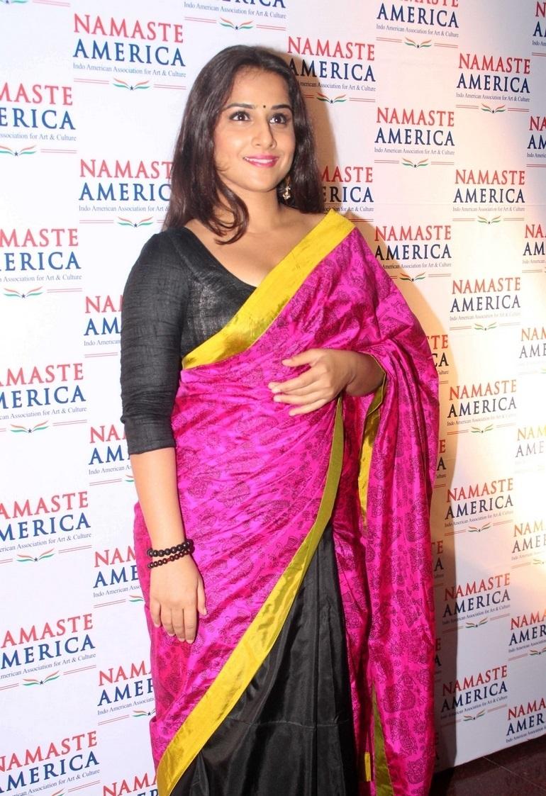 Actress Vidya Balan Long Hair In Black Saree