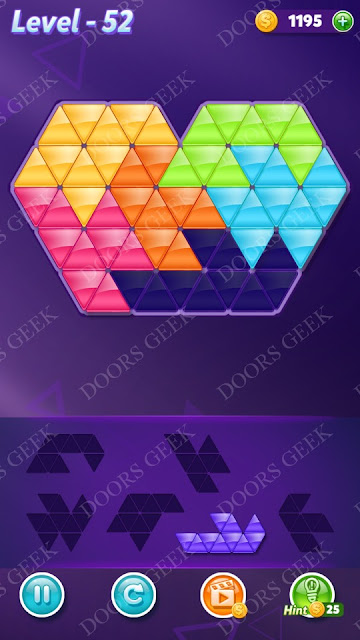 Block! Triangle Puzzle Intermediate Level 52 Solution, Cheats, Walkthrough for Android, iPhone, iPad and iPod