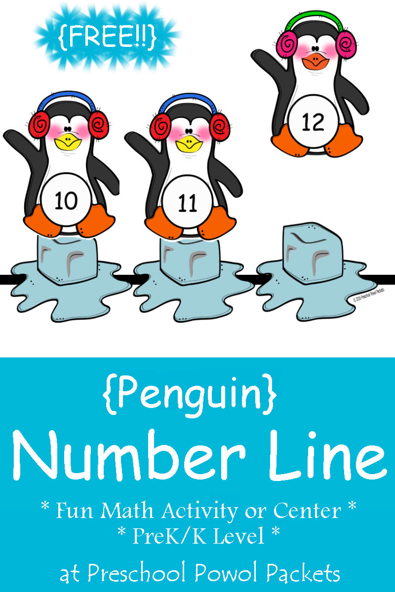 FREE} Penguin Number Line Preschool Math Activity | Preschool Powol ...
