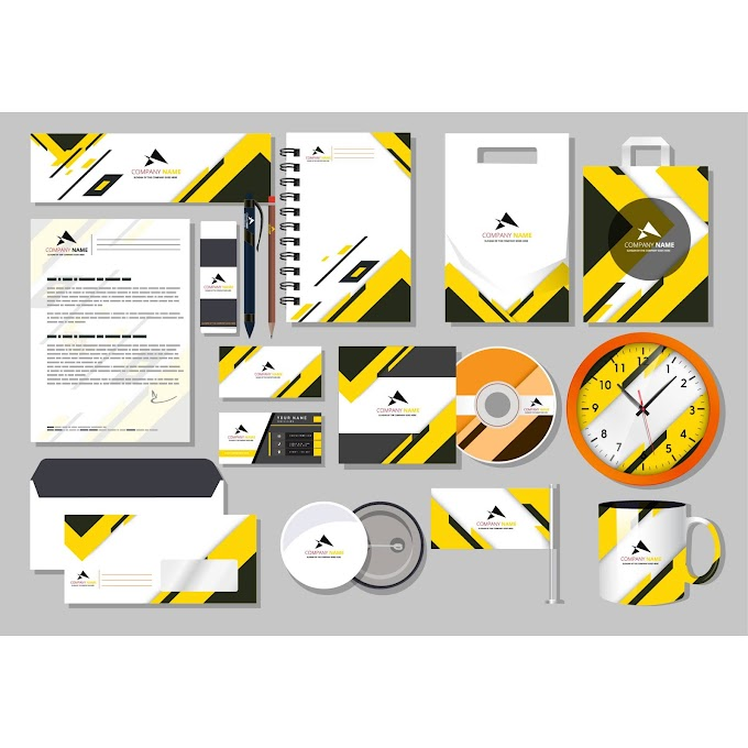 Branding idendity sets modern bright yellow white decor Free vector