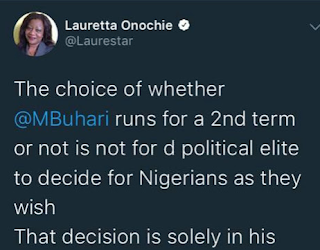 Lauretta Onochie says President Buhari's political future will be decided by Nigerians not the elite