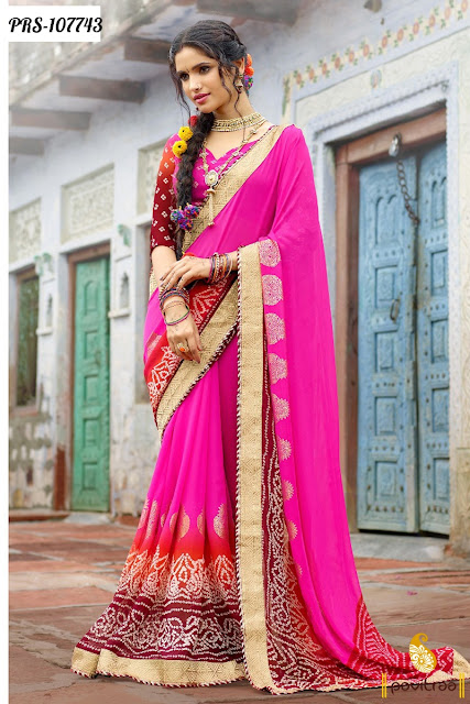 Pink  Color Traditional Bandhani Sarees For Wedding Season 2017-2018 Online Shopping with Discount Price