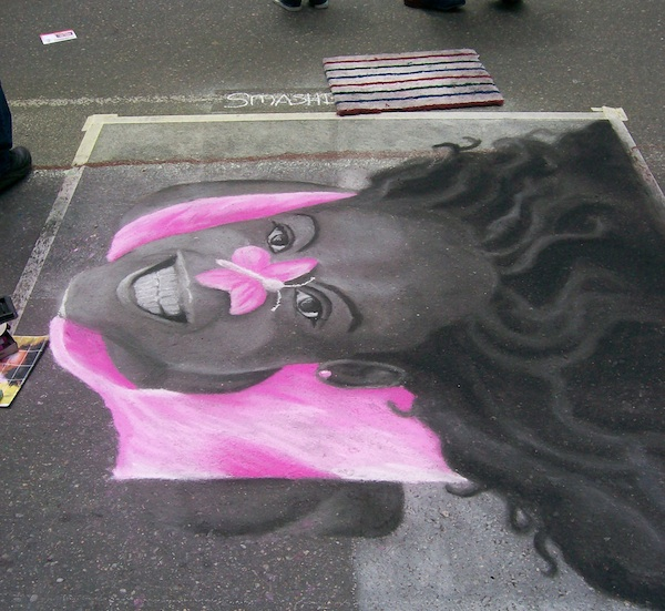 Pink Girl 2 finished chalk drawing at the Denver Chalk Festival 2008