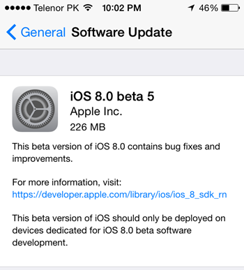 iOS 8 Beta 5 Firmwares OTA